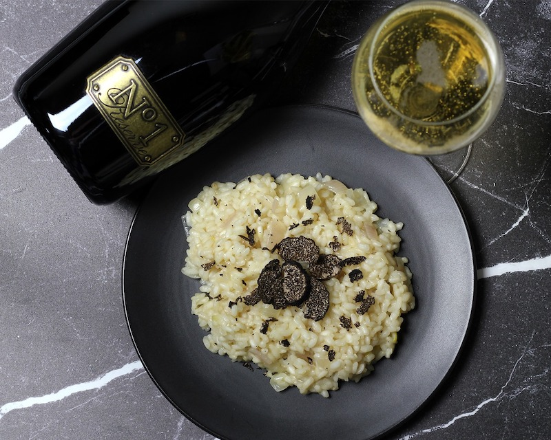 Featured wine and dish – Champagne Risotto with Truffles