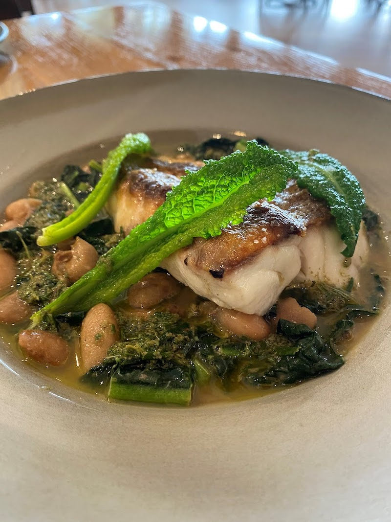 Braised cannellini beans with roasted cod and sage oil